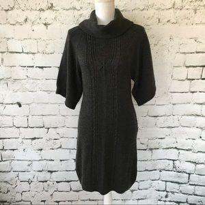 Tahari Wool Blend Knit Cowl Neck Sweater Dress Med
